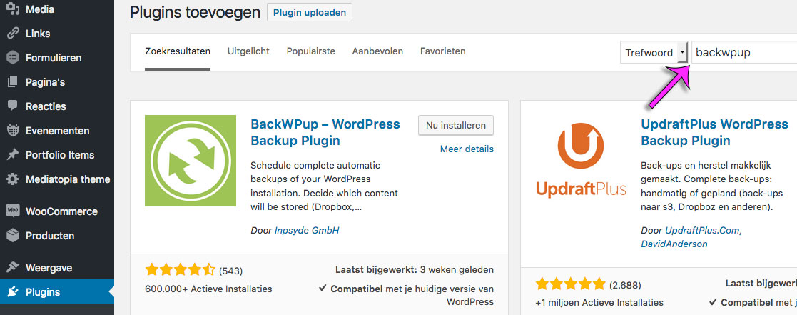 Installeer BackWPup plugin in WordPress website