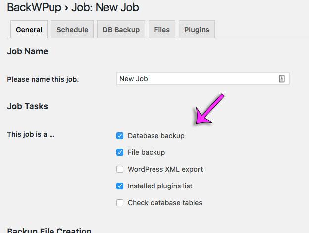 selecteer backup onderdelen backwpup in WordPress